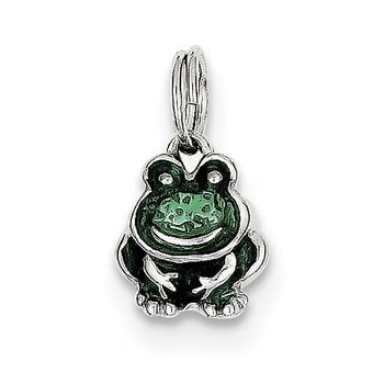 Lex & Lu Sterling Silver Green Enameled Frog Charm LAL105631 Enamel Frog Charm