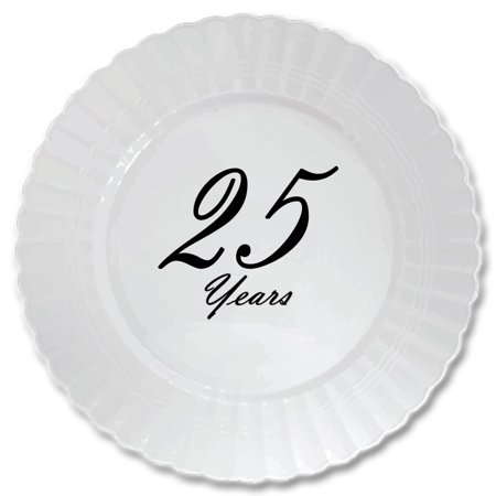 25 YEARS CLASSY BLACK PLASTIC DINNER PLATE (8 COUNT) by Partypro - Black Plastic Dinner Plates
