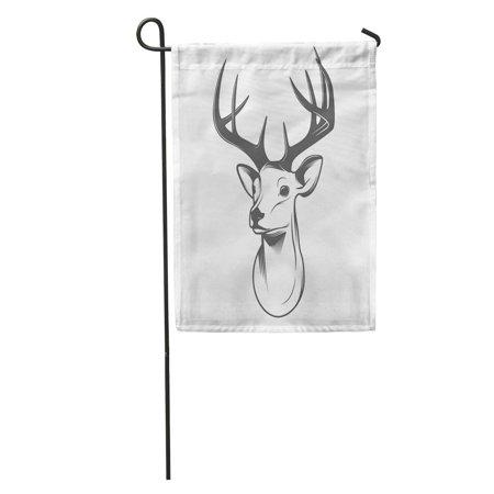 KDAGR Reindeer Deer Head Silhouette Hunt Vintage Outline Horns Drawing Male Garden Flag Decorative Flag House Banner 12x18 inch](Reindeer Horns)