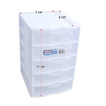 STERILITE 1 New 20758004 Clearview Small 5 Drawer Desktop Storage Unit