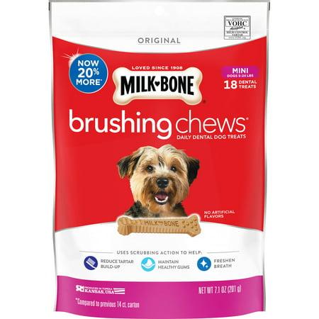 Milk-Bone Brushing Chews Daily Dental Dog Treats, Mini, 7.1 Oz., 18 Bones Per - Bag Of Bones Halloween Treat