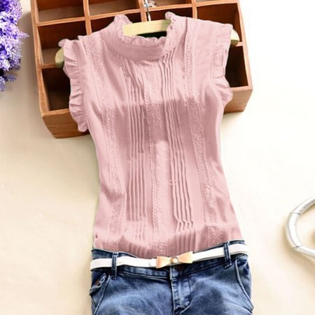 Women Solid Color Sleeveless Lace Slim Blouse Bottom Shirt