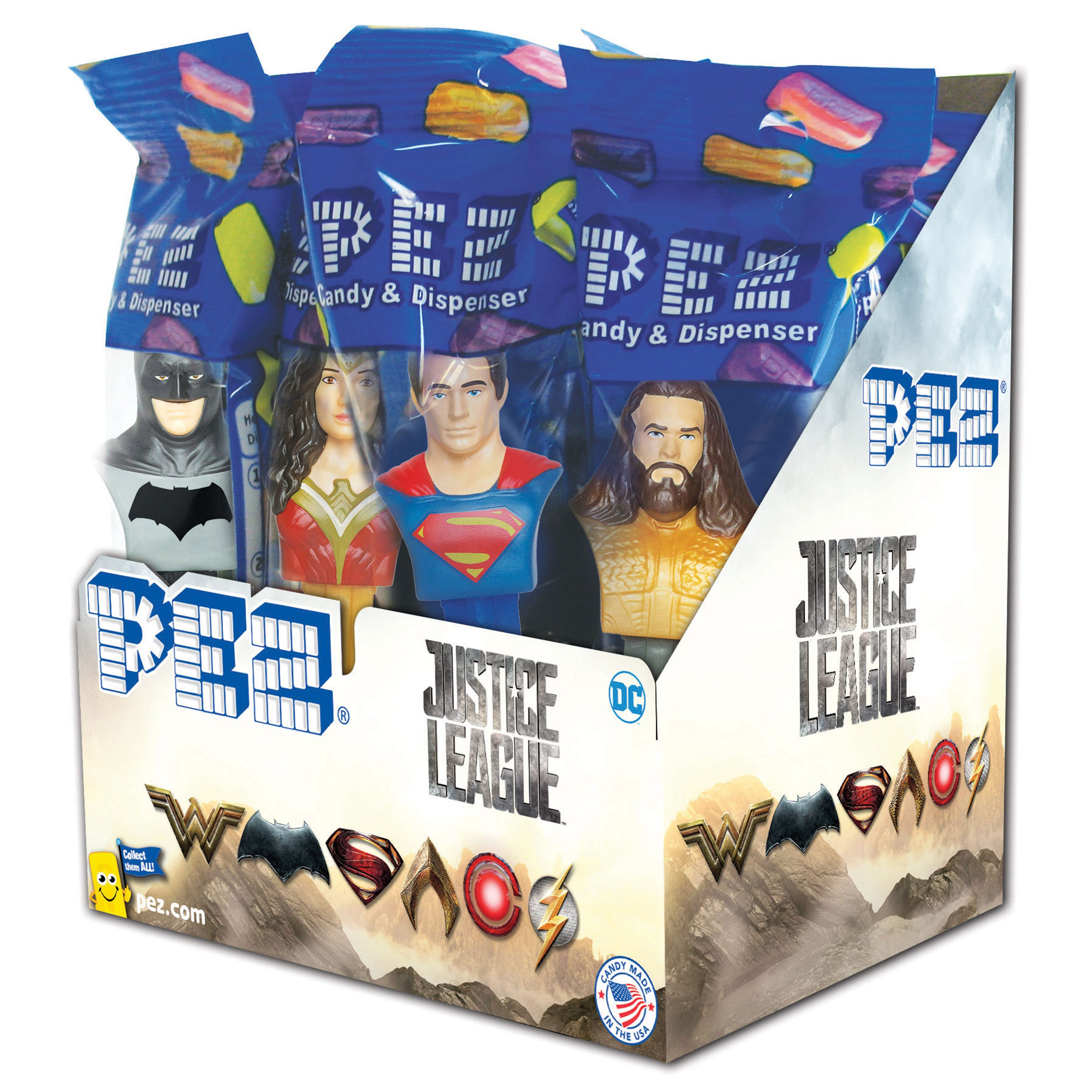 PEZ Candy Justice League-Part I Assortment, candy dispenser plus 2 rolls of assorted fruit candy, box of 12