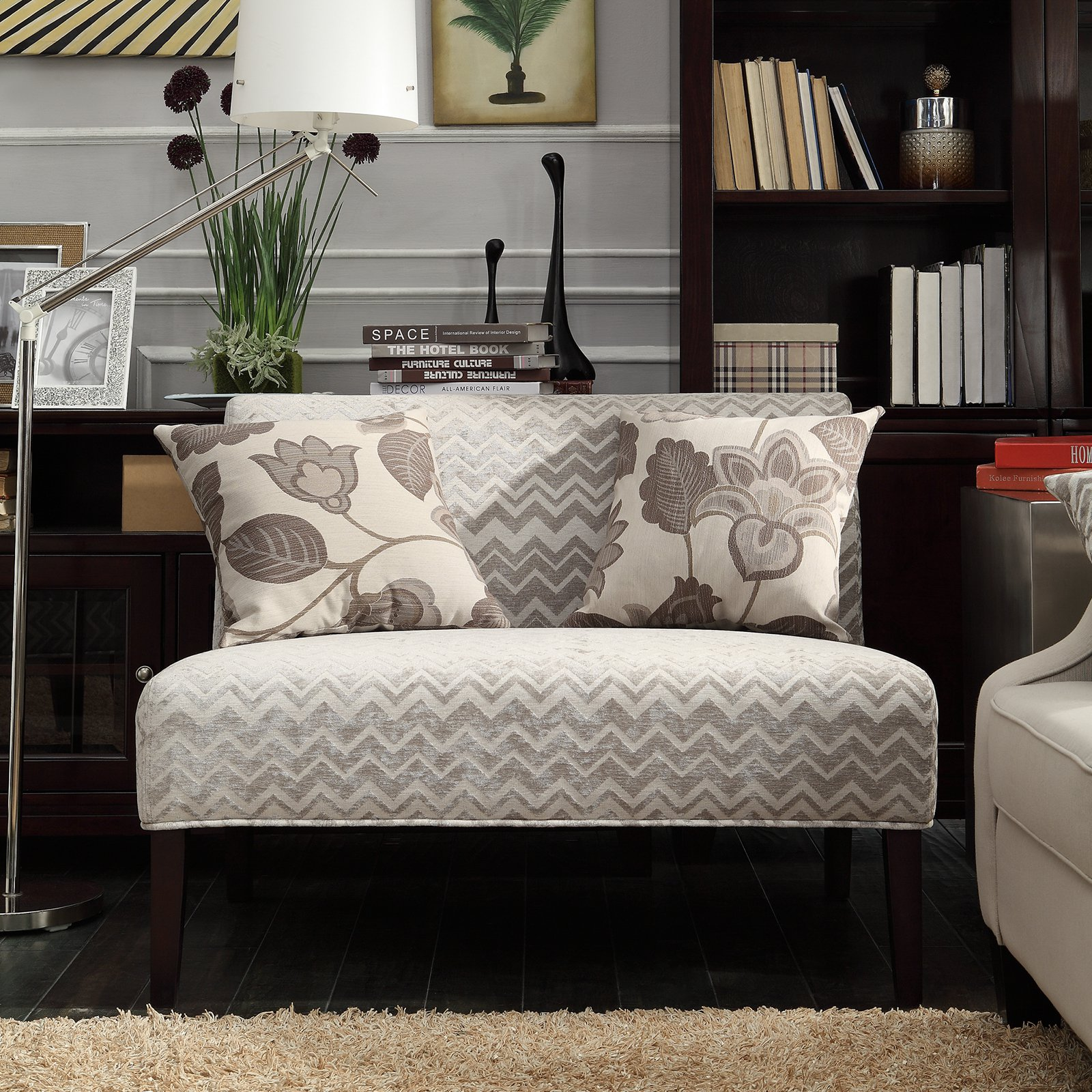 Weston Home Gray Chevron Print Fabric Loveseat - Rich Espresso