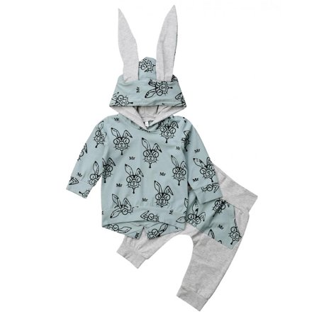 Baby Girl Boy Clothes Long Sleeve Hoodie Rabbit Ear Sweatshirt and Pants Outfit Set - Jessica Rabbit Outfit
