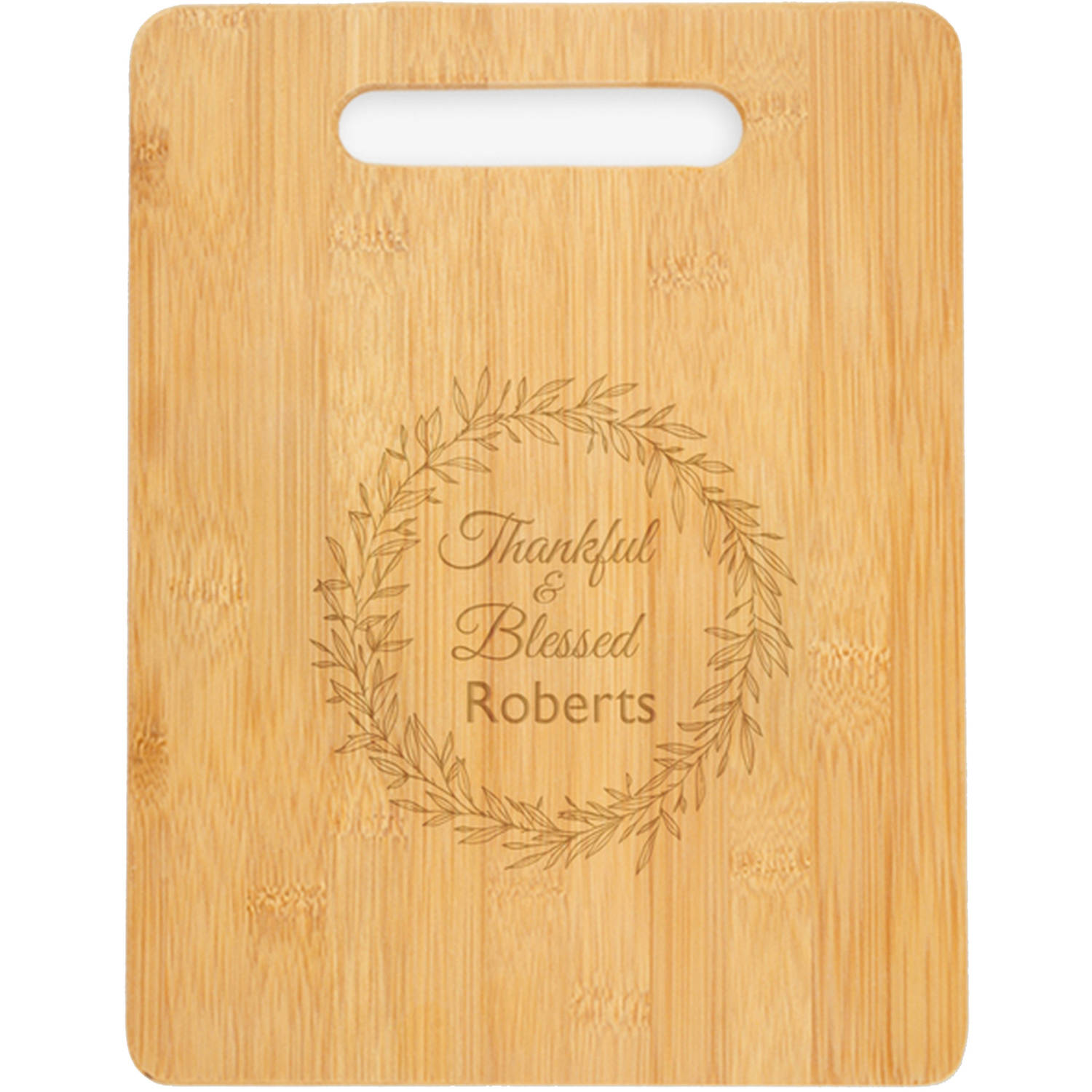 "Personalized Thankful And Blessed Cutting Board, Sizes 12.5"" x 11.5"" and 12.5"" x 13.75"""