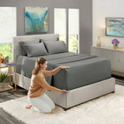 Extra Deep Pocket 6 Piece Bed Sheet Set, Available in King Queen Full Twin and Cal King, Deep Fitted Sheet fits 18-24, Soft Microfiber, Hypoallergenic, 4 Pillow Cases by (Queen, Gray) Nestl Bedding