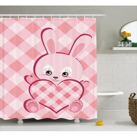 Baby Shower Curtain Diagonal Stripes Diamond Pattern With Cute Lovely Bunny Giant Heart Plaid