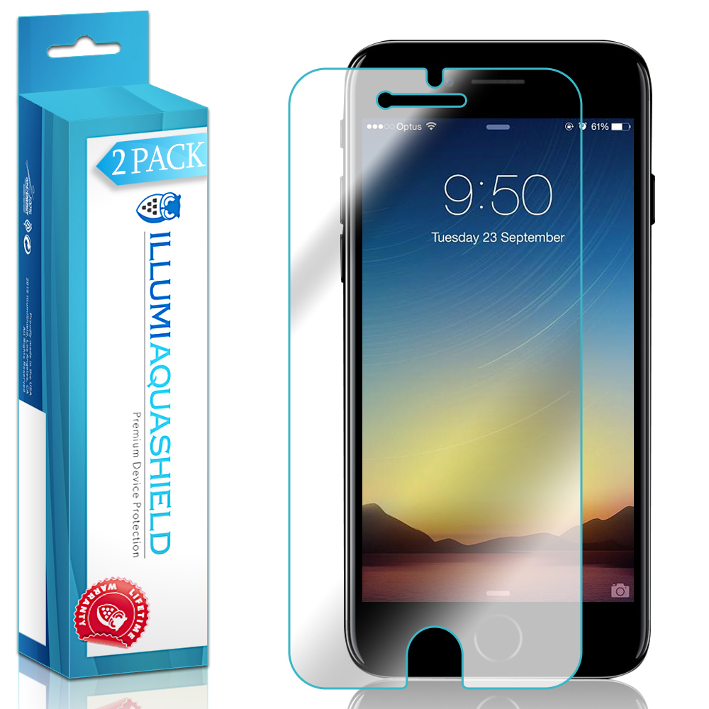 2x iLLumi AquaShield Clear Screen Protector Cover for iPhone 7 Maximum Coverage