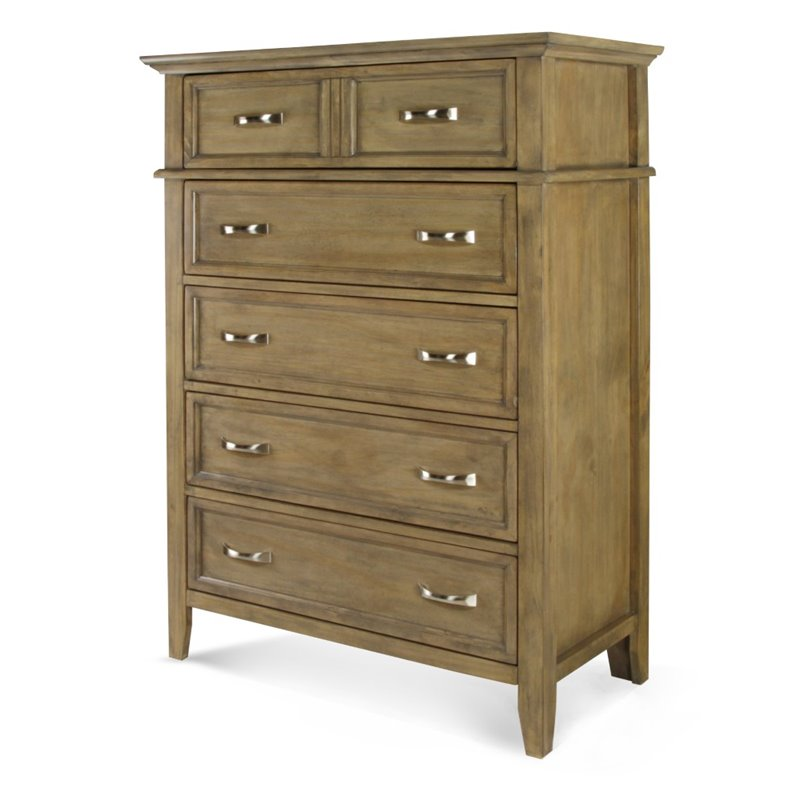 Furniture of America Ackerson 6 Drawer Chest in Weathered Oak