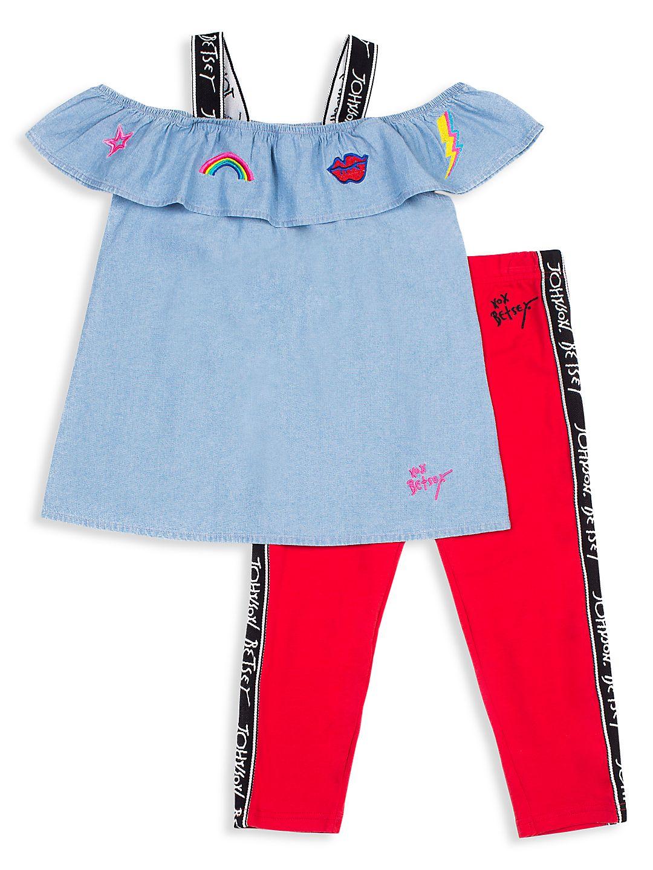 Little Girl's 2-Piece Chambray Top & Capri Pants Set