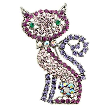 Purple Cat Kitty Crystal Pin - Avon Cat Brooch