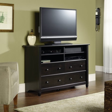 Sauder Edge Water Tall TV Stand for TVs up to 45″, Estate Black