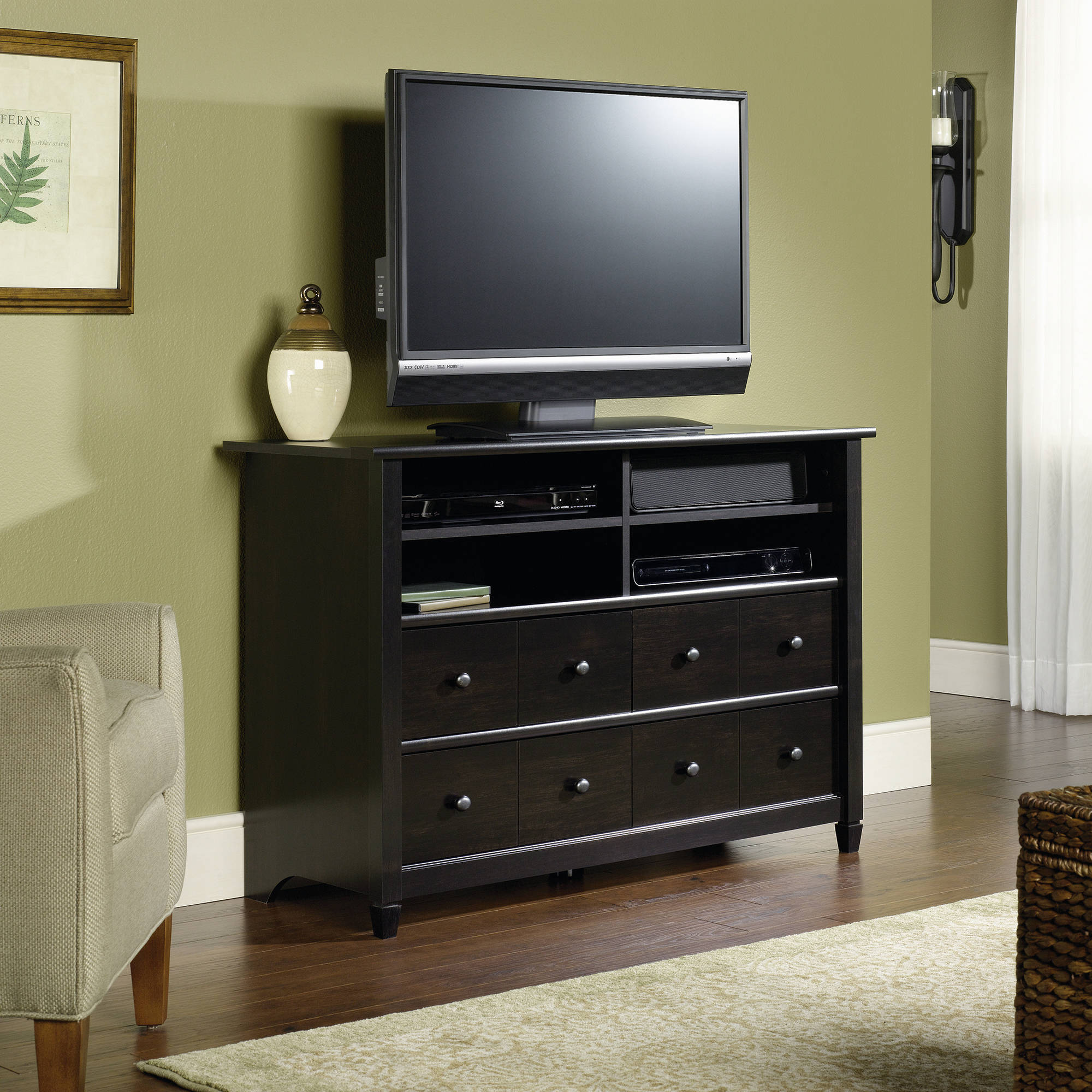 "Sauder Edge Water Tall TV Stand for TVs up to 45"", Estate Black"
