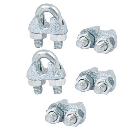 Wire Rope Cable Clamp Clip Silver Tone 5mm Inner Width 5pcs