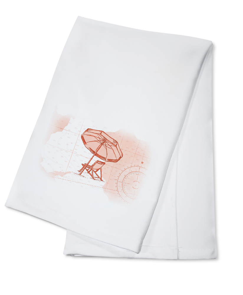 Beach Chair & Umbrella Coral Coastal Icon Lantern Press Artwork (100% Cotton Kitchen Towel) by Lantern Press