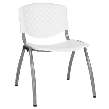 9000 Series Stack Chair (Flash Furniture HERCULES Series 880 lb. Capacity White Plastic Stack Chair with Titanium Frame )
