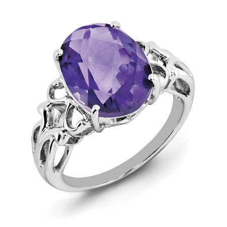 925 Sterling Silver Oval Checker Cut Purple Amethyst Band Ring Size 7.00 Gemstone Fine Jewelry Gifts For Women For Her - image 6 de 6