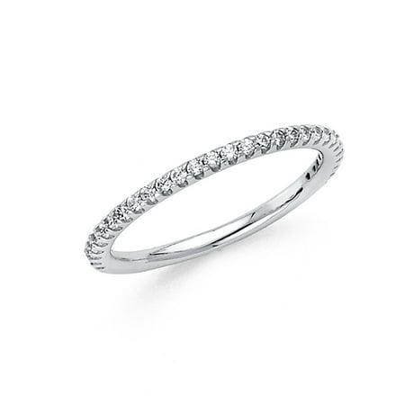 FB Jewels 14K White Gold Ring Cubic Zirconia CZ Anniversary Wedding Band Size - Anniversary Jewel