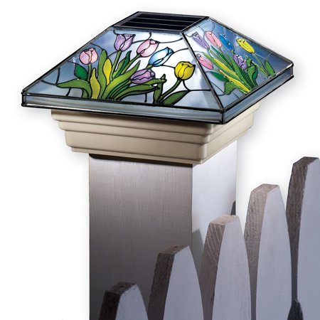 Spring Solar Fence Post Cap Light with Beautiful Colorful Flowers and Hummingbirds, Flower