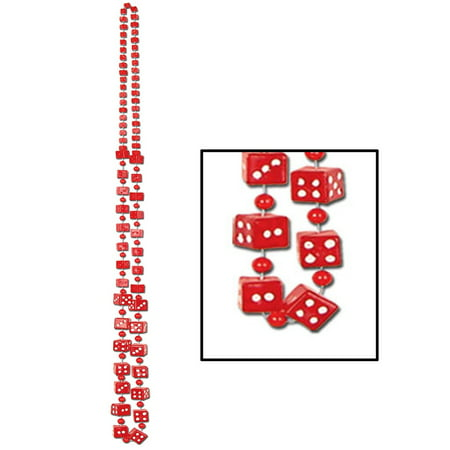 Club Pack of 12 Red Dice Casino Themed Beaded Necklace Party Favors 48