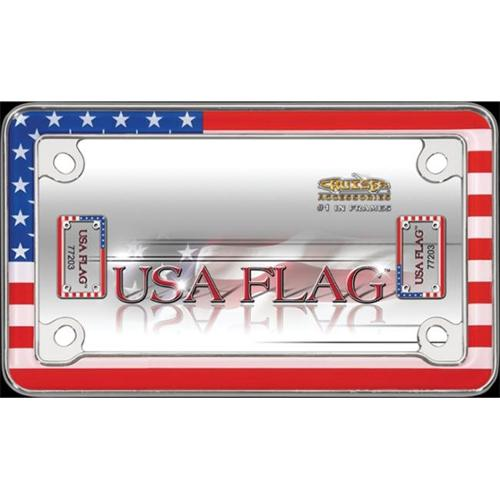 Chrome United States Motorcycle License Plate Frame