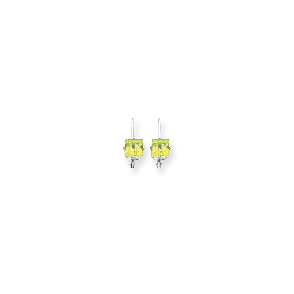 14k White Gold 0.6IN Long 5mm Princess Cut Peridot leverback Earrings