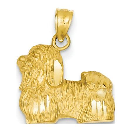 14k Yellow Gold Diamond-cut Shih Tzu (16x19mm) Pendant / Charm - image 2 of 2