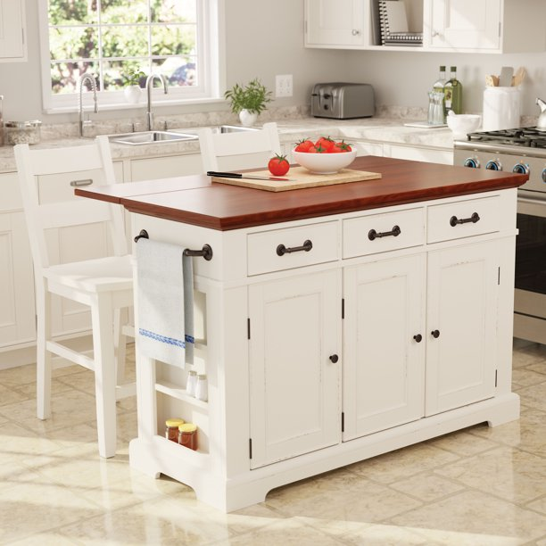 Osp Home Furnishings Country Kitchen Large Kitchen Island In White Finish With Vintage Oak Top With Drop Leaf Walmart Com Walmart Com
