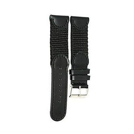16MM BLACK NYLON LEATHER SPORT WATCH BAND STRAP FITS SWISS ARMY