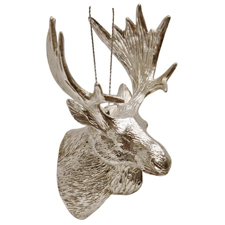 Moose Mount Antiqued Silver Christmas Holiday Ornament