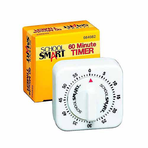 """School Smart Small Timer with Bell, 60 min,  2.5"""" x 2.5"""" x 1.375"""", White"""