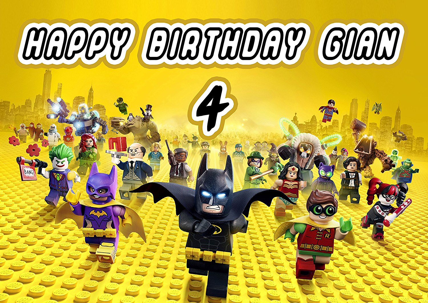 LEGO BATMAN Birthday Cake Personalized Cake Topper Edible Frosting