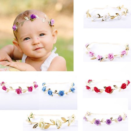 Toddler Newborn Baby Girls Rose Flower Gold Leaf Headband Hair Band Accessories ()