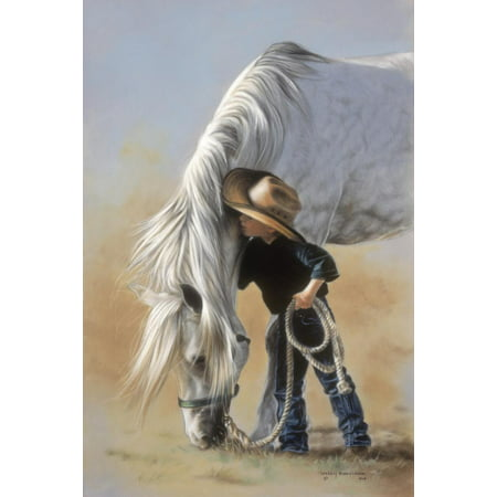 Little Whispers Boy and Horse Child Cowboy Western Theme Art Print Wall Art By Leslie Harrison
