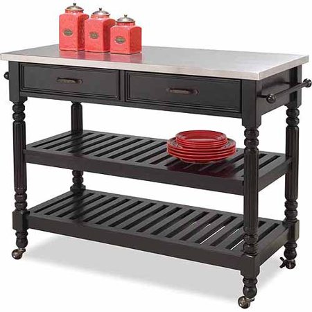 Home Styles Savannah Black Kitchen Cart - Walmart.com