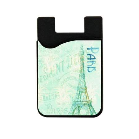 Vintage Style Paris Design - Jacks Outlet TM Black Stick-On Silicon Card Phone Pocket