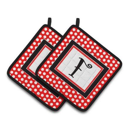 Carolines Treasures CJ1012-FPTHD Letter F Initial Monogram Red Black Polka Dots Pair of Pot Holders, 7.5 x 3 x 7.5 in. - image 1 of 1