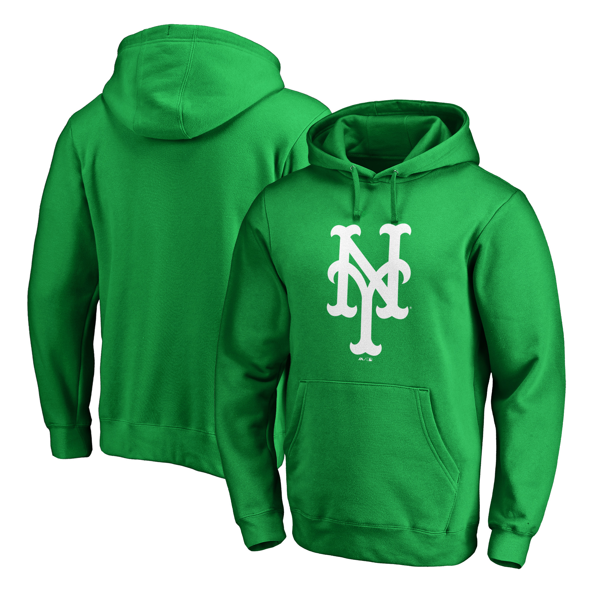 New York Mets Majestic St. Patrick's Day White Logo Pullover Hoodie - Kelly Green