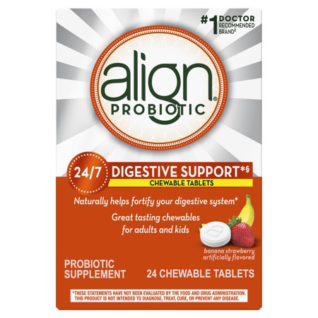Align Probiotics Chewables, Daily Probiotic Supplement for Digestive Health, Banana Strawberry Flavor, 24 ct., #1 Recommended Probiotic Brand by