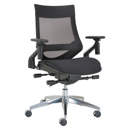Alera EB-W Series Pivot Arm Multifunction Mesh Chair, Black/Aluminum Frame ()