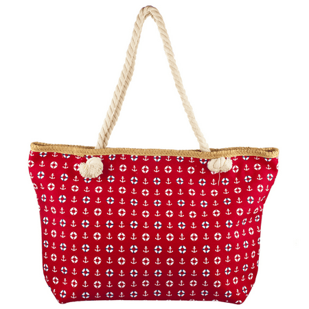 Lux Accessories Lux Accessories Womens Zip Up Beach Bag Red Anchor ()