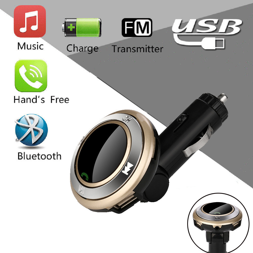 DZT1968 Wireless Hands-Free Q7 USB Charge LED MP3 Bluetooth Car FM Transmitter With MIC