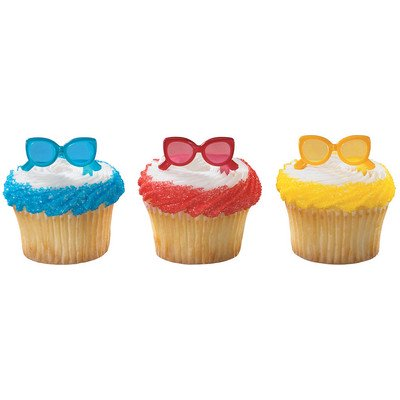 Sunglasses Red Blue Yellow Summer -24pk Cupcake / Desert / Food Decoration Topper Picks with Favor Stickers & Sparkle - Summer Cupcakes