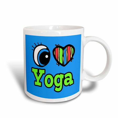 (3dRose Bright Eye Heart I Love Yoga, Ceramic Mug, 11-ounce)