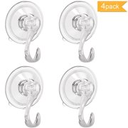 4PCS Wreath Hanger Suction Cup Hooks with Key Lock Heavy Duty Shower Suction Cup Hook Wall Window Bathroom Suction Hook Wreath hanger Holders Vacuum Plastic Hooks Holds up to 22 Lbs