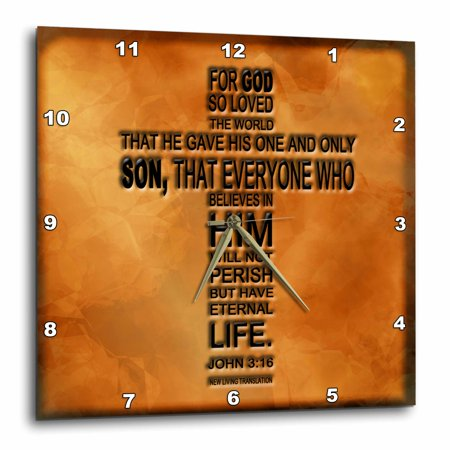 Copper 3 Candelabra Sockets (3dRose John 3 16 bible verse embossed on a copper background - Wall Clock, 13 by 13-inch )