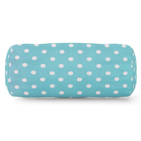 Majestic Home Goods Indoor Aquamarine Small Polka Dot Round Bolster Decorative Throw Pillow 18.5 in L x 8 in W x 8 in H ()
