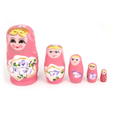 Unique Bargains Smile Girl Painting Pink Wooden Nesting Russian Doll Matryoshka Decor Set 5 in - Russian Doll Halloween