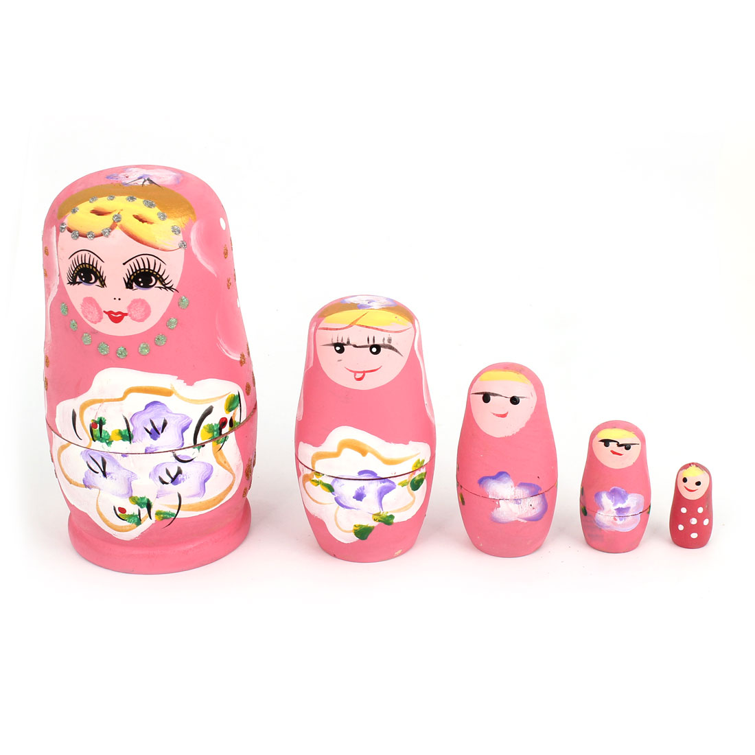 Unique Bargains Smile Girl Painting Pink Wooden Nesting Russian Doll Matryoshka Decor Set 5 in 1